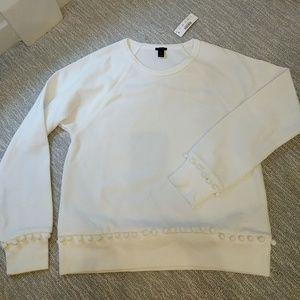 J.Crew white pom-pom sweatshirt